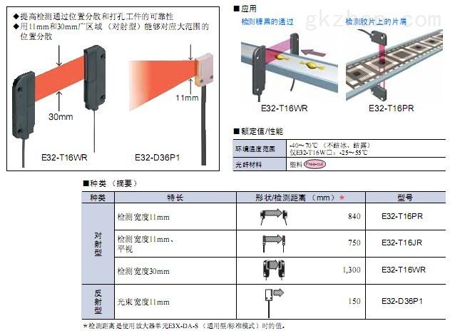 omron欧姆龙 e32-t16pr光纤传感器