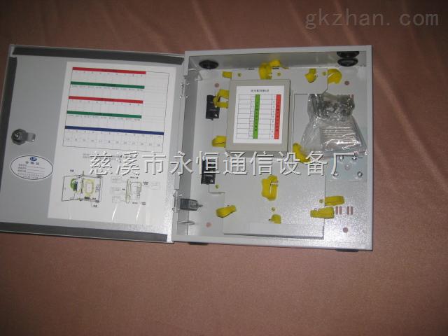 冷扎板16芯插片式光分路器箱概述: 一、尺寸:350*340*100 适合于光纤接入网中的配线光缆与入户皮线光缆交接点使用。箱体采用壁挂或抱杆安装方式,适用于室内和室外两种场景使用;通过SC型光纤适配器及快速连接器对外线铠装光缆与入户皮线光缆之间进行连接与调度。 二、性能指标