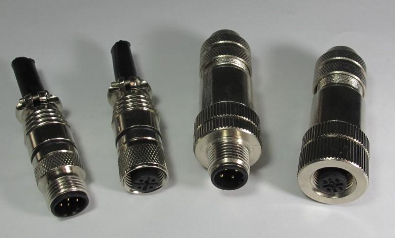 M12全屏蔽防水连接器直头针式